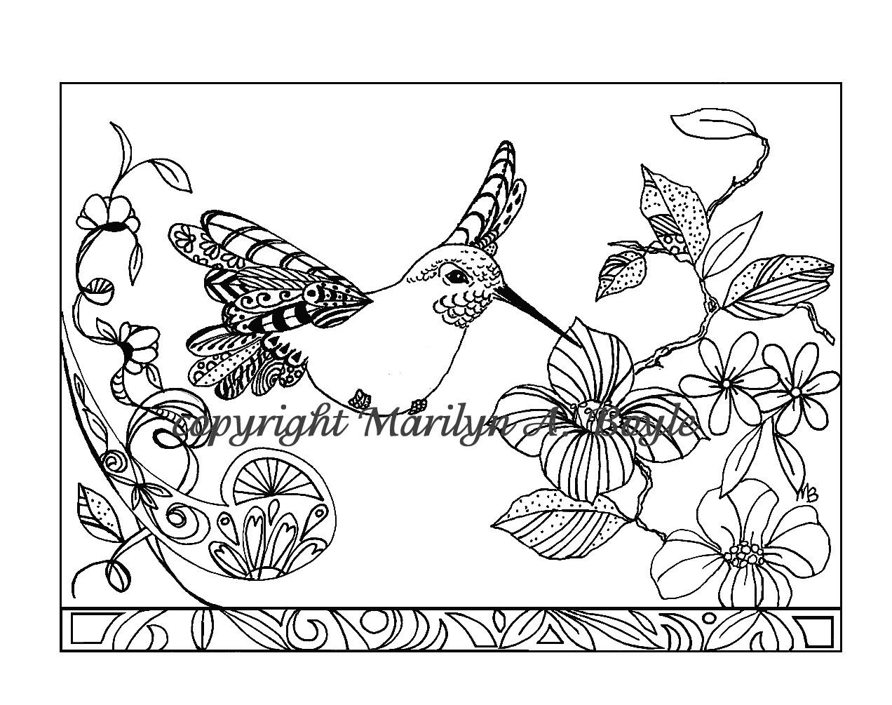 ADULT COLORING PAGE;Hummingbird in flowers, Zentangle ...