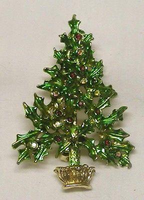 BEAUTIFUL TANCER SIGNED CHRISTMAS TREE COLORED RHINESTONE PIN BROOCH
