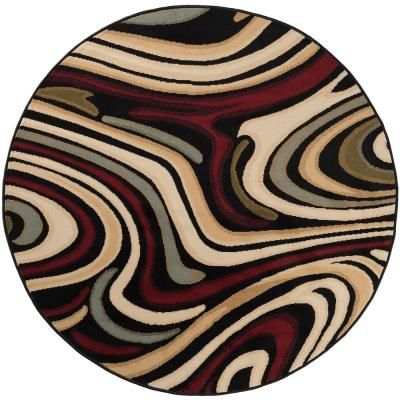 Tayse Rugs Laguna Charcoal 8 Ft X 8 Ft Round Indoor Area Rug