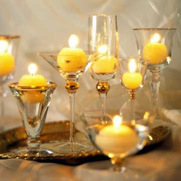 Hmmmm just find red, white, or pink ball candles and this would be perfect! Glistening Goblets