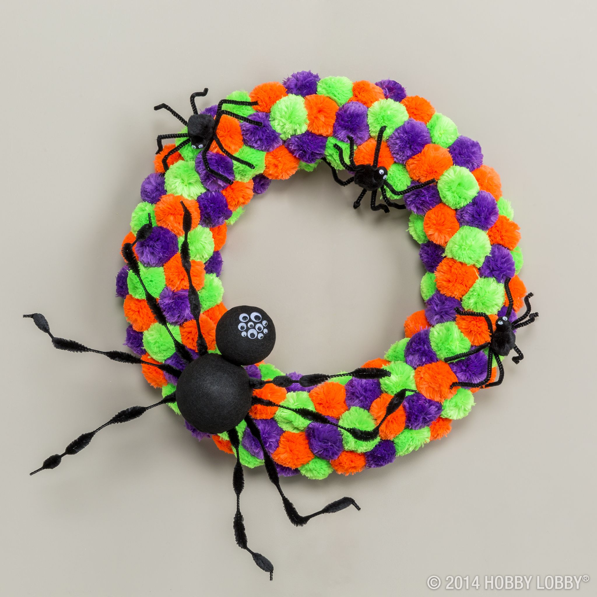 Say boo! This pom-pom Halloween wreath is easy-to-create and oh so - Hobby Lobby Halloween Decorations