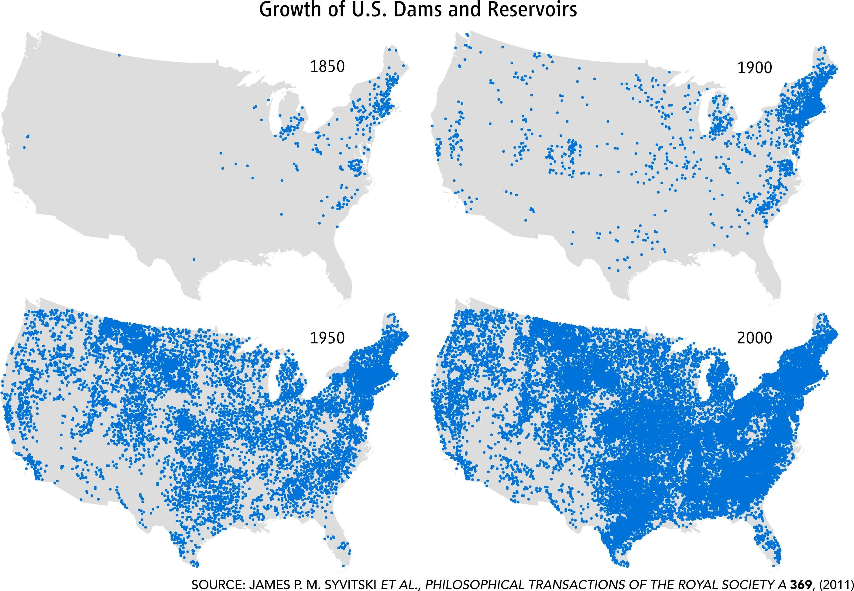 Growth Of US Dams And Reservoirs Royal Society - Map of dams in the us