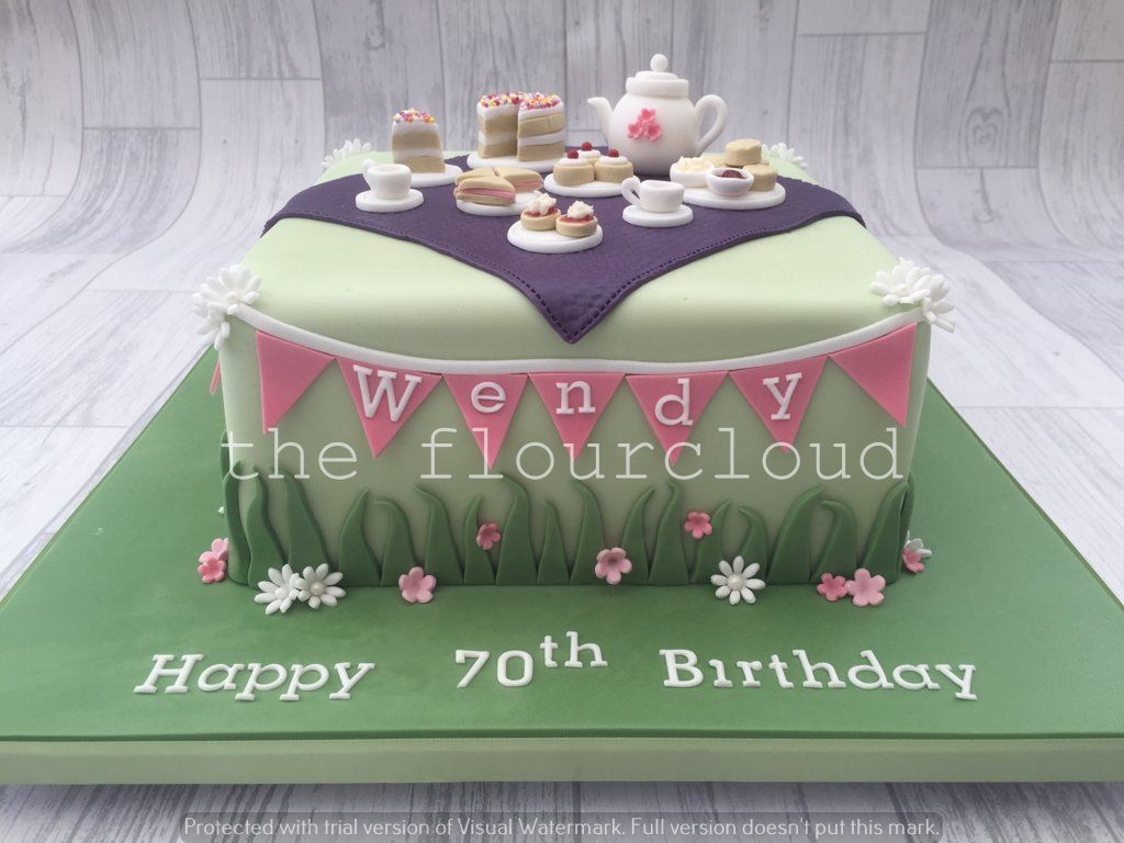 Afternoon tea themed birthday cake sugar craft and tutorials