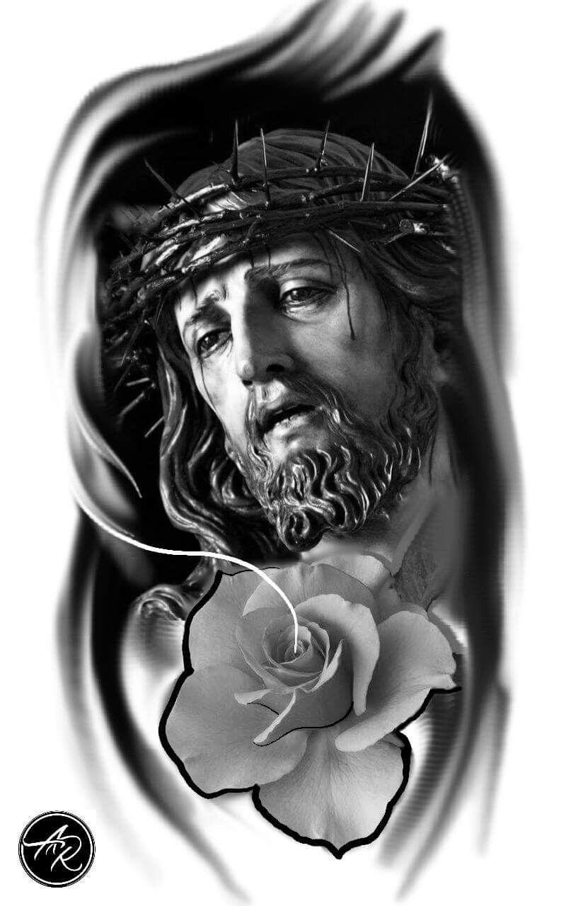 Jesus Mit Blume Und Dornenkrone Tattoo Tatuagem 13