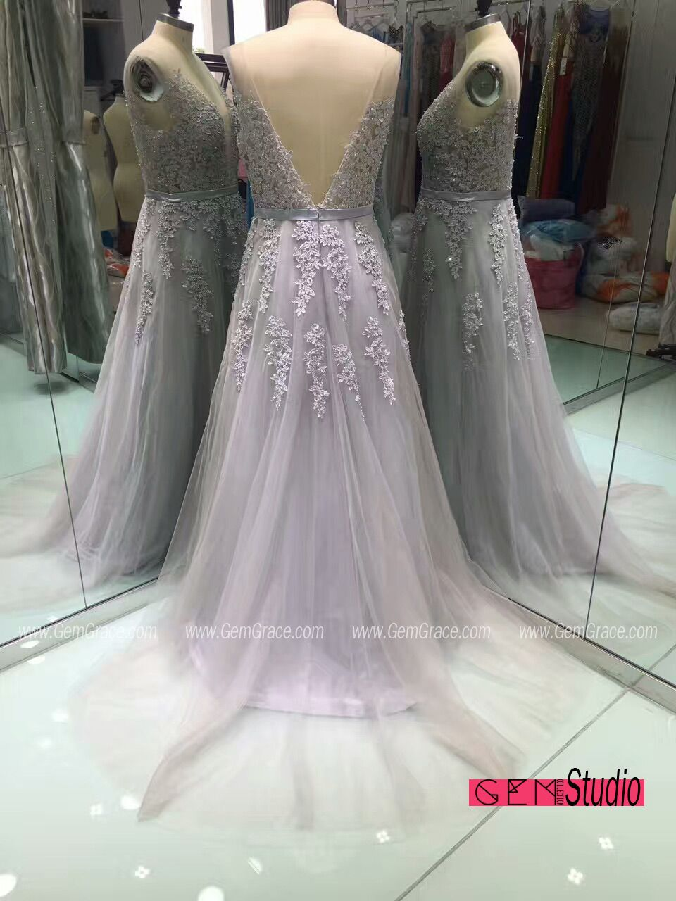 Design your own wedding dress cheap  Applique Lace Long Tulle Prom Dress with V Back Open Back Custom