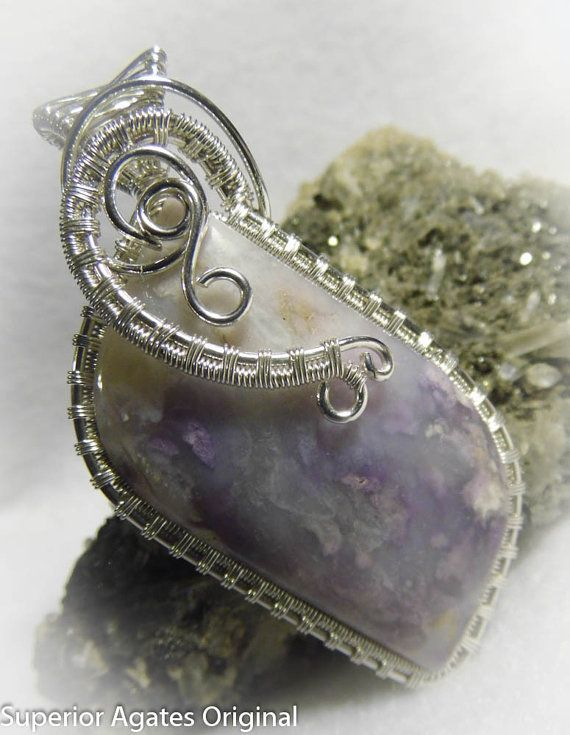 Large Lavender Mexican Opal Wire Wrapped Silver by superioragates, $45.00