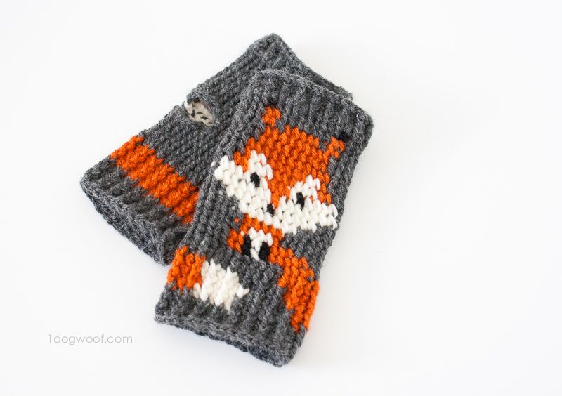 Fox Fingerless Gloves Crochet Pattern | Tejido