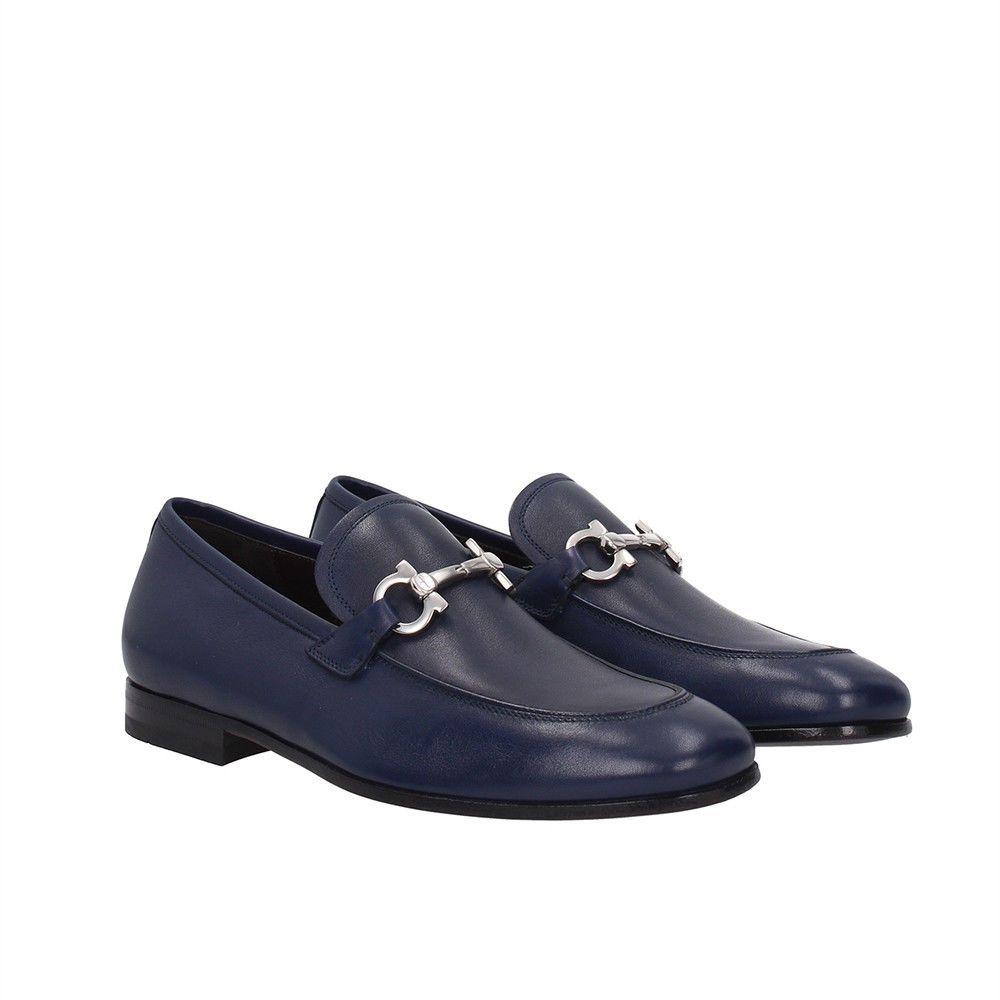 4ec9cd28701 SALVATORE FERRAGAMO Dark Blue Leather Gancini-bit Loafers 6.5US 5.5UK  39.5EU NWB (eBay Link)