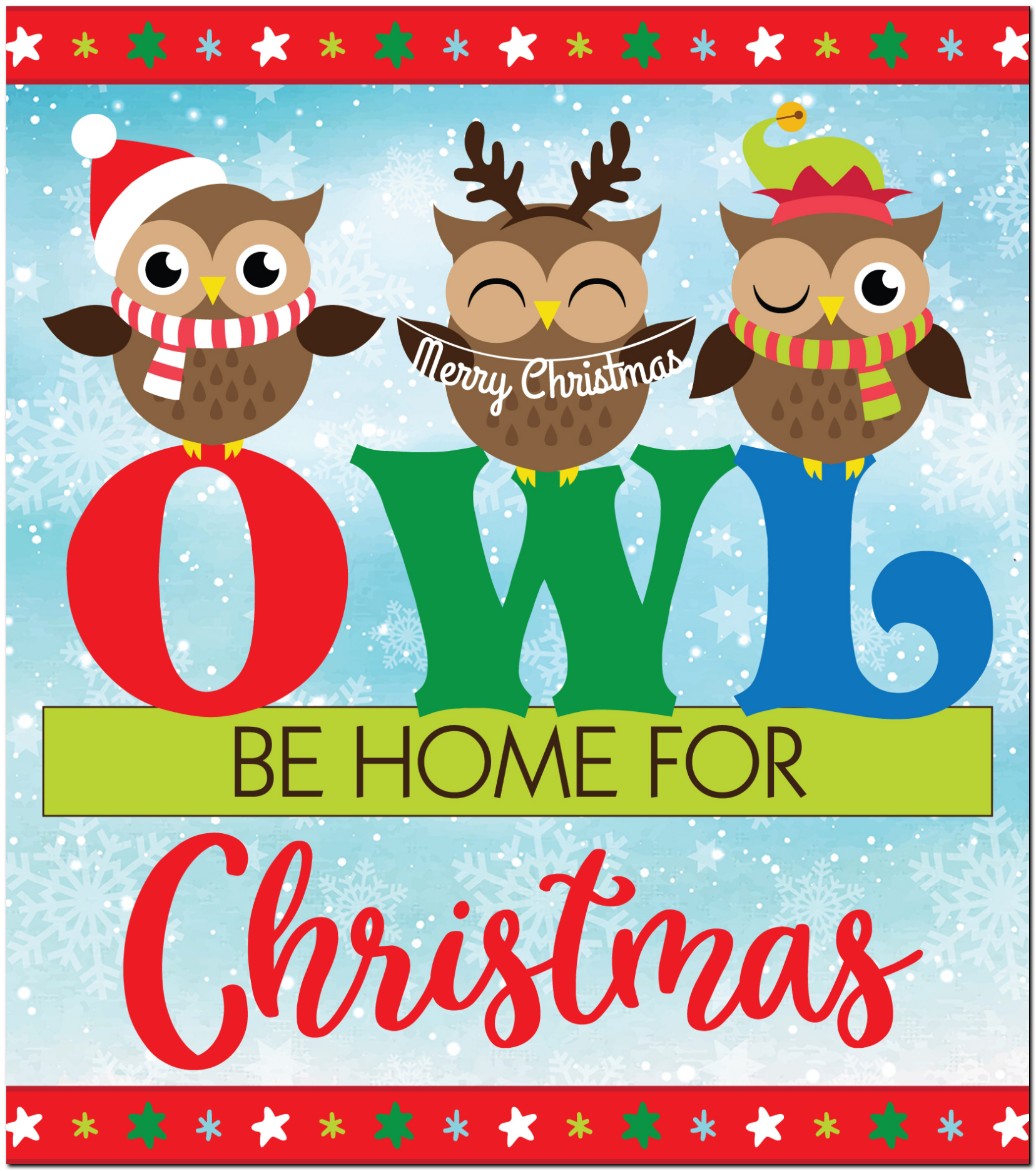 Get Owl Be Home For Christmas DXF