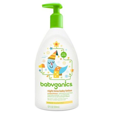 Babyganics Night Time Moisturizing Daily Baby Lotion, Orange Blossom - 12oz Pump Bottle