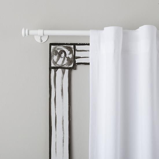 The Land Of Nod Curtain Accessories White Button Cap Single Curtain Rod In Curtains Hardwares Kids Curtains Kid Room Decor Shared Girls Room