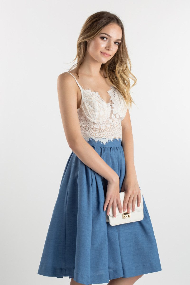 White Lace Bralette, Crop Tops and Midi Skirts, How to wear ...