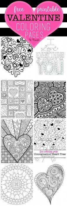 Free Valentine Coloring Pages | Color me happy | Pinterest | Páginas ...