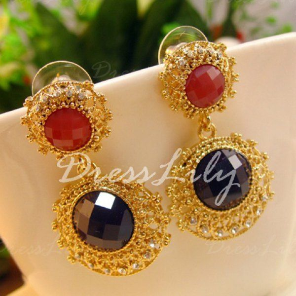 Pair of Gorgeous Diamante Colored Faux Gemstone Earrings For Women #men, #hats, #watches, #belts, #fashion