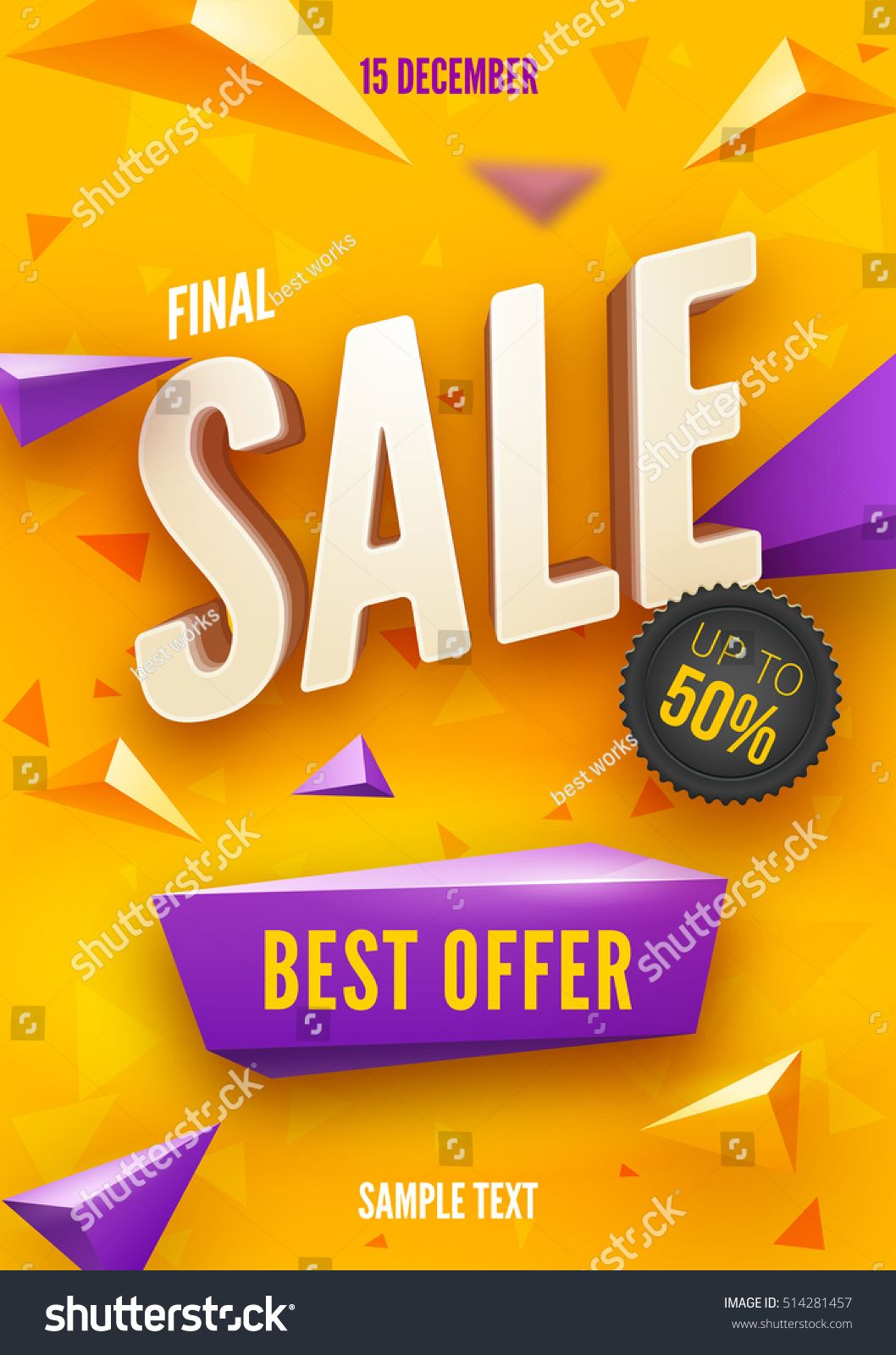 Final sale poster or flyer design 3D word Sale on colorful