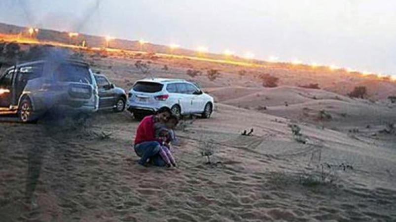 Estaban de vacaciones en los Emiratos Árabes y se sacaron una extraña foto   ElDoce.tv