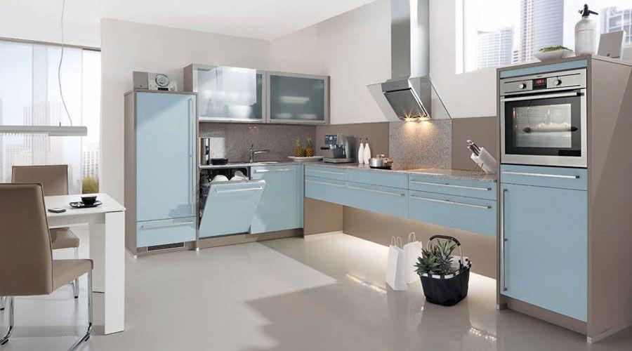 Meyer Küchen fronten in platinblau echtglas matt kombiniert mit beigegrauem