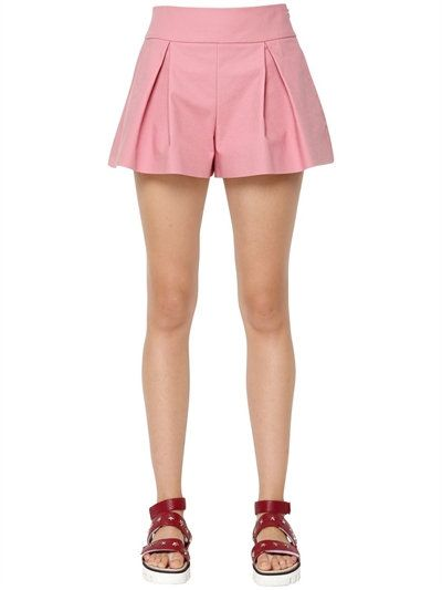 66878d11a97 RED VALENTINO STRETCH COTTON PLEATED SHORTS