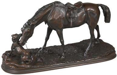 Sculpture Statue Timeless Pals Dog Horse Cast Resin New