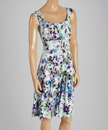 Another great find on #zulily! White & Blue Floral Scoop Neck Dress by London Times #zulilyfinds
