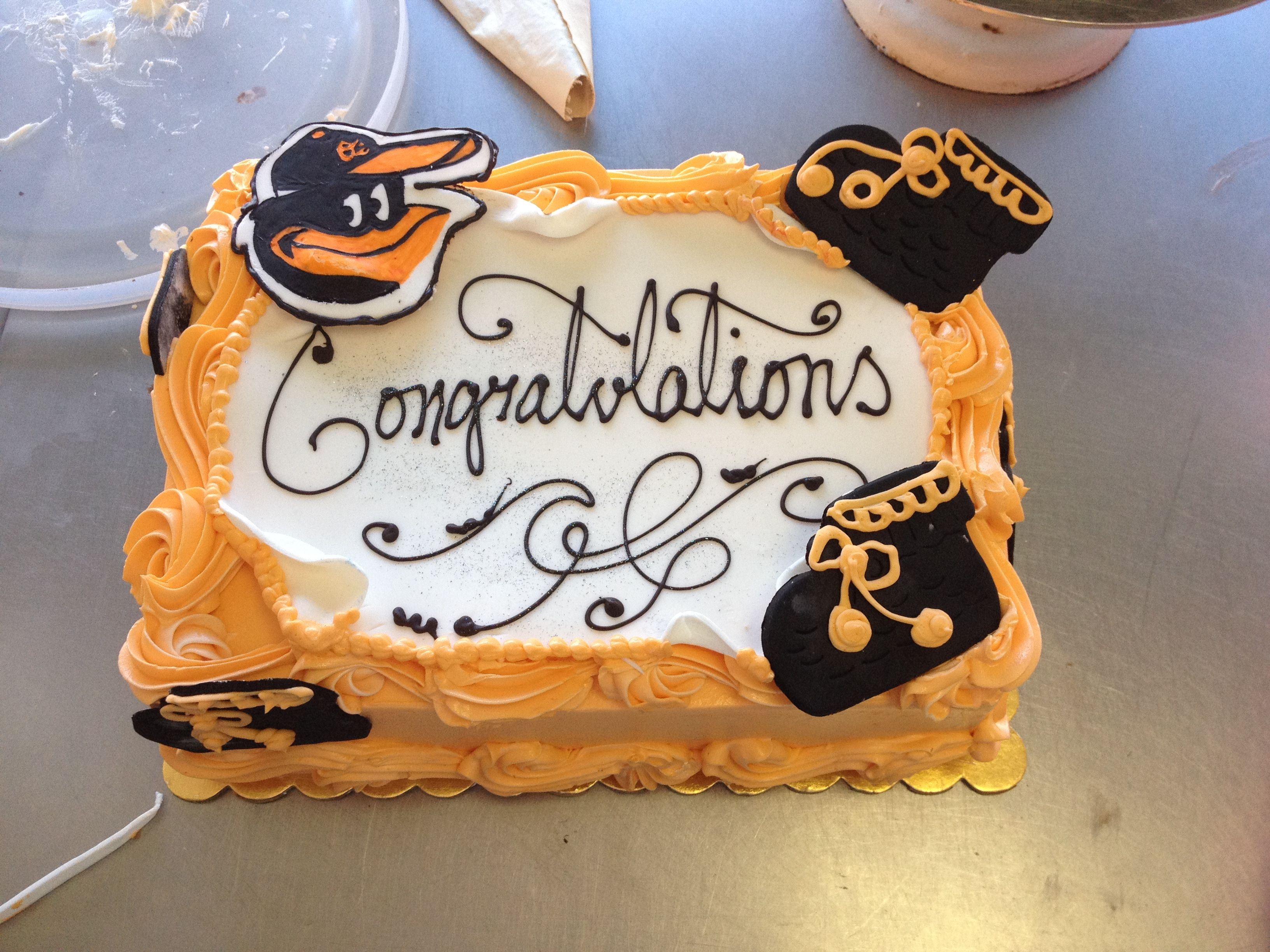 Baltimore Orioles Os baby shower cake Blondies Theme Cakes