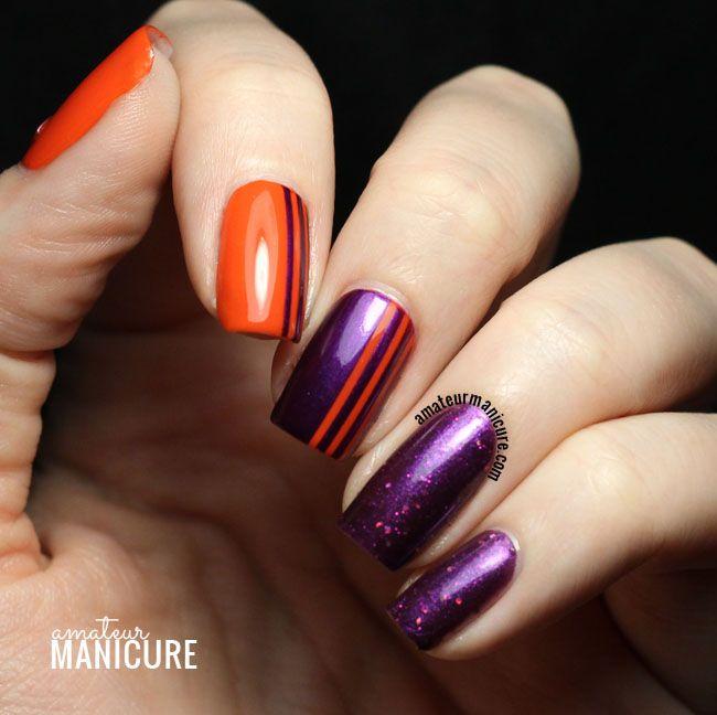 Purple & Orange Sparkly Striped Nail Art | Purple and pink ...