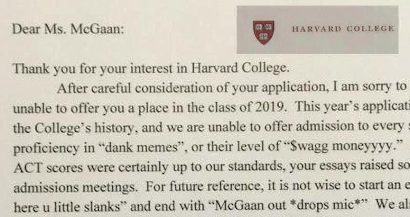High school humorist deserves Harvard admission for her viral Harvard rejection letter.