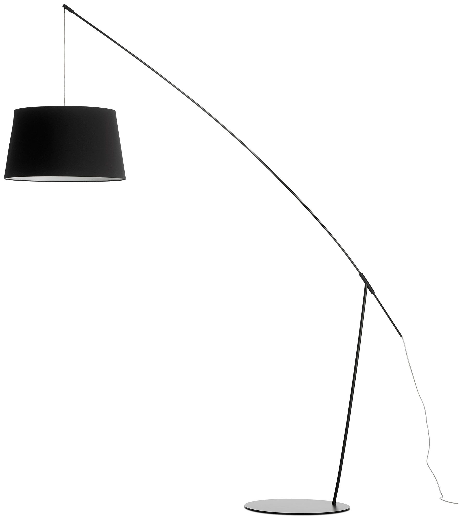 Crane Floor Lamp, Black Metal With Black Fabric Shade. H80xØ19¾