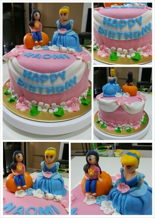 Cinderella floral themed birthday cake for pretty Naomi My