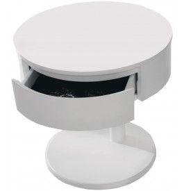 2611 chevet rond design laqu blanc brillant 1 tiroir - Table De Chevet Laque Blanc Brillant