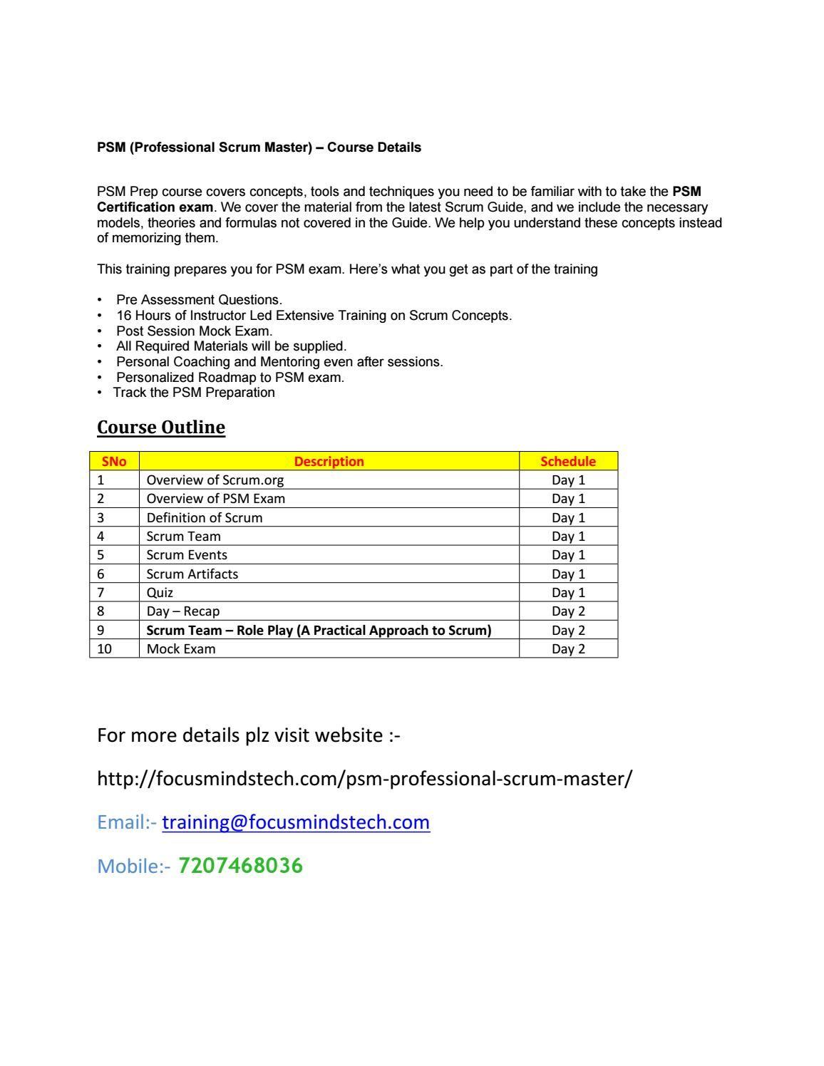 Professional Scrum Master Psm Certification Training In Hyderabad