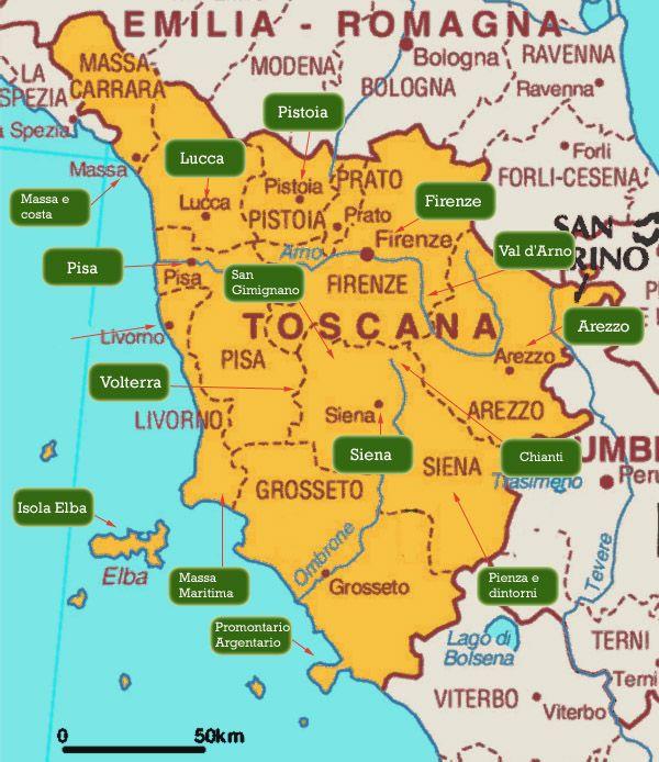 Map Toscane Toscana Tuscany Italy Tuscany