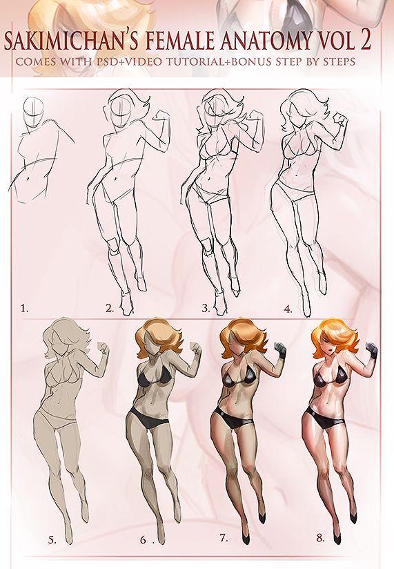 drawing references female anatomy studies © Sakimichan — Coloring ...