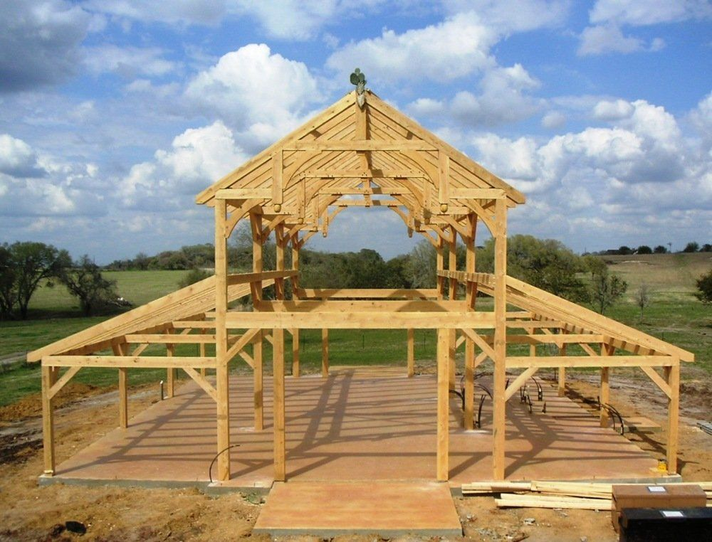 Equipment Barn in TX with Hemlock Frame and Curved Braces- from ...