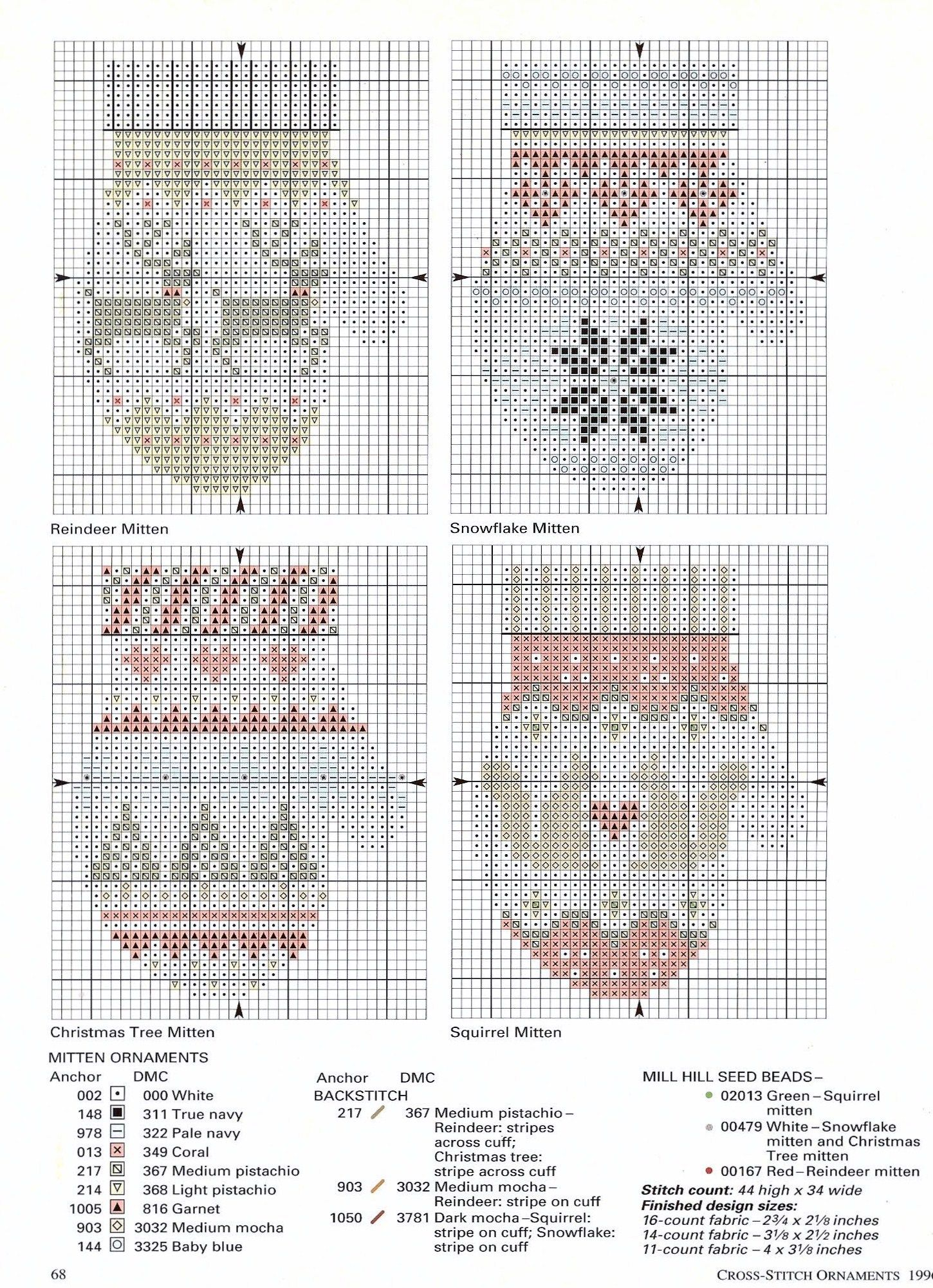 Mittenste little ornaments cross stitch pinterest