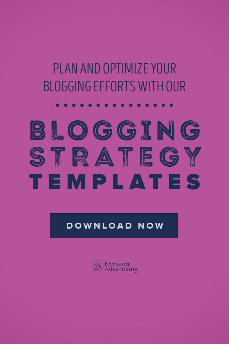 Download our instant templates to becoming your own blogging BO$$! It isn't enough to simply have a blog. A business needs to create a content strategy that will allow for quality content so you can build a reputation aligned with your brand that will pay off in the long term! BUT it is the strategy & planning that trips up a lot of businesses. http://envizionadvertising.com/bloggingstrategytemplates/