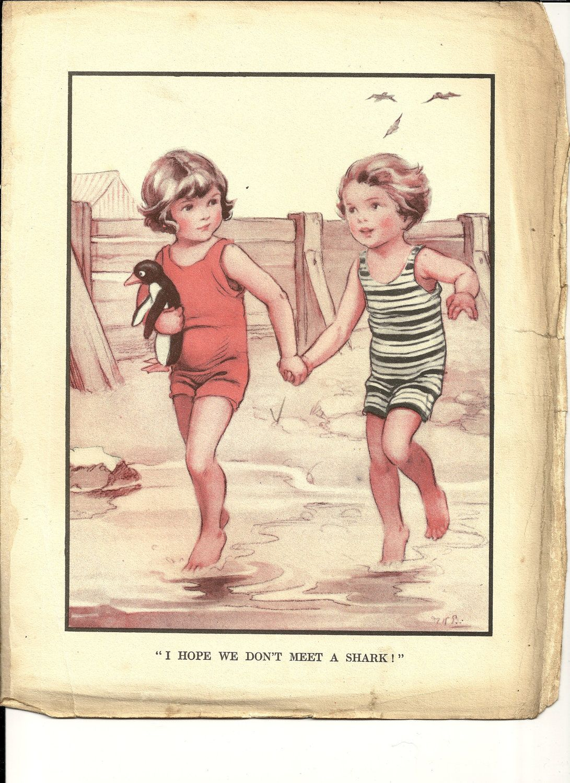 Vintage Kids Books My Kid Loves Koko S Kitten: 1920s Large Vintage Colour Illustration From A Childrens