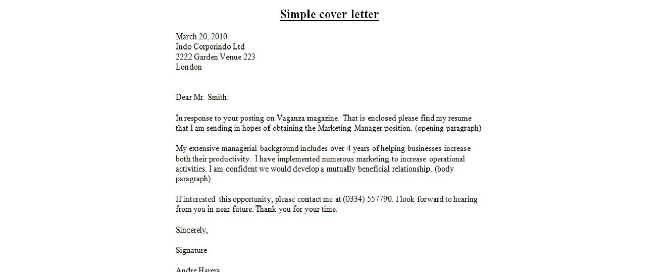 Simple Email Cover Letter Template   Sample resume cover letter. Resume cover letter examples. Simple cover letter template