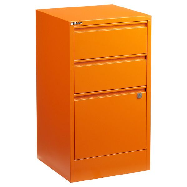 Bisley Orange 2 3 Drawer Locking Filing Cabinets The Container Store Filing Cabinet Metal Filing Cabinet 3 Drawer File Cabinet