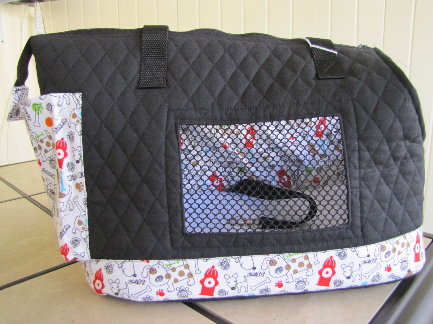 Black quilted large dog carrier by PoochandFelinePalace on Etsy