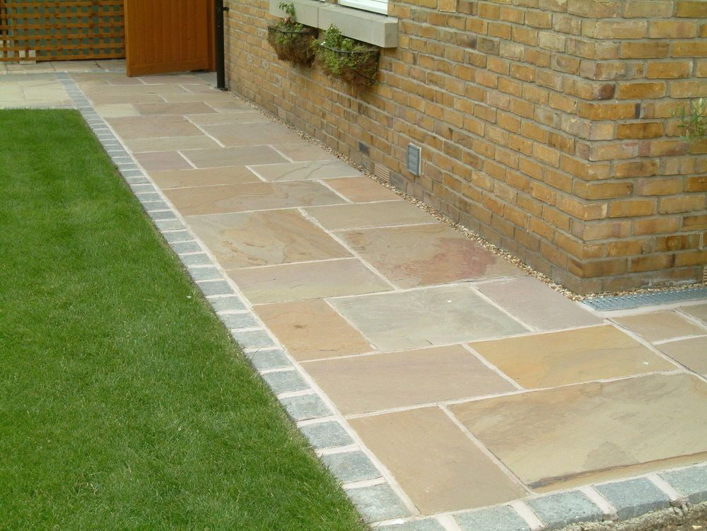 Indian sandstone paving natural stone patio flags for Paving stone garden designs