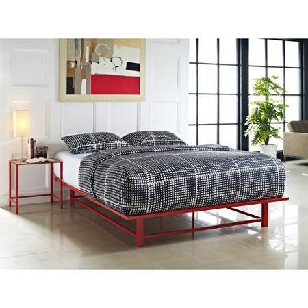Parsons Queen Metal Ledge Platform Bed Red Walmart Com