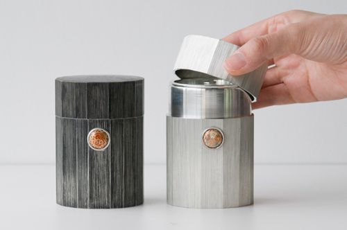 Satsuma Tin Tea Canister with Satsuma Button by BARON
