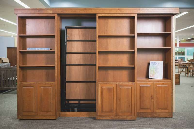 Murphy Bed With Sliding Bookcases To Conceal Superb Sliding