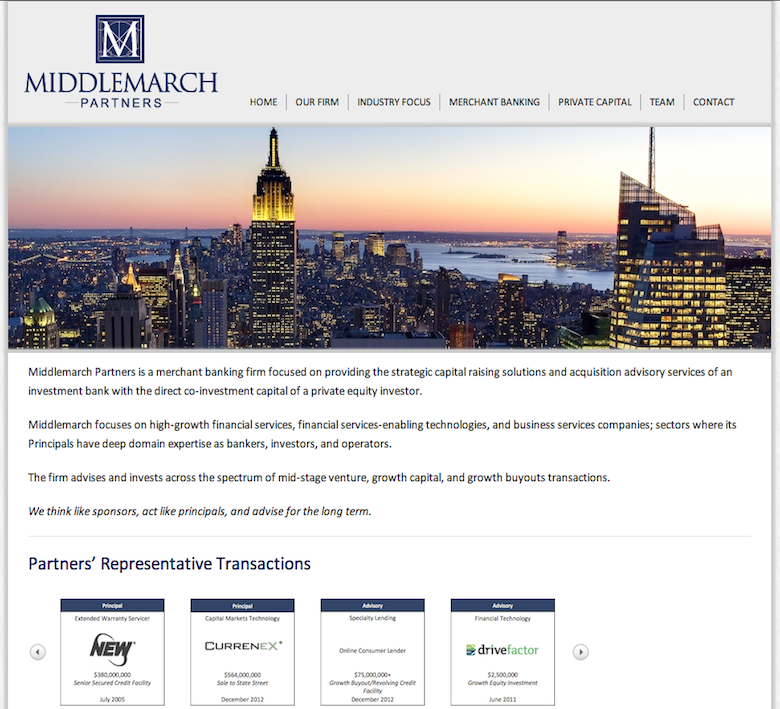 Investment Bank Website Design Http Middlemarchllc Com
