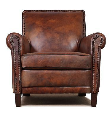 Perfect High End, Genuine Leather Accent Chair, Club Chair, Cigar Chair With Nail  Heads