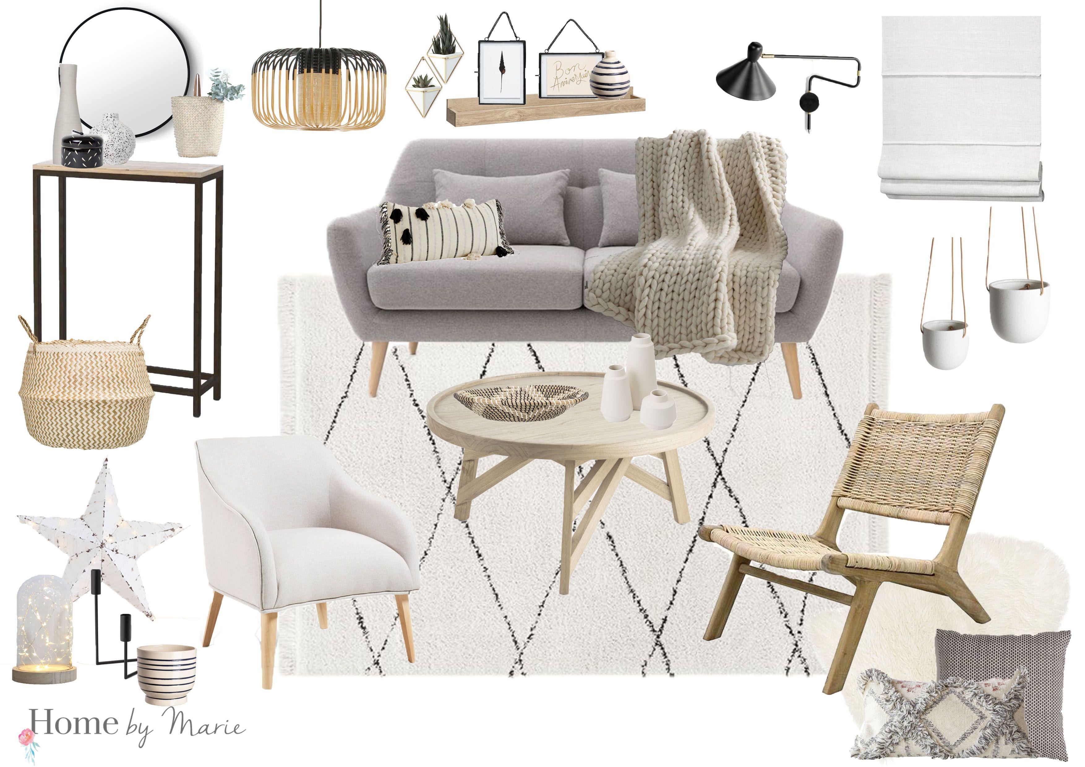 Salon Monochrome Cosy Decoratrice D Interieur Home By Marie Deco Salon Blanc Salon Gris Et Blanc Decoration Salon Blanc