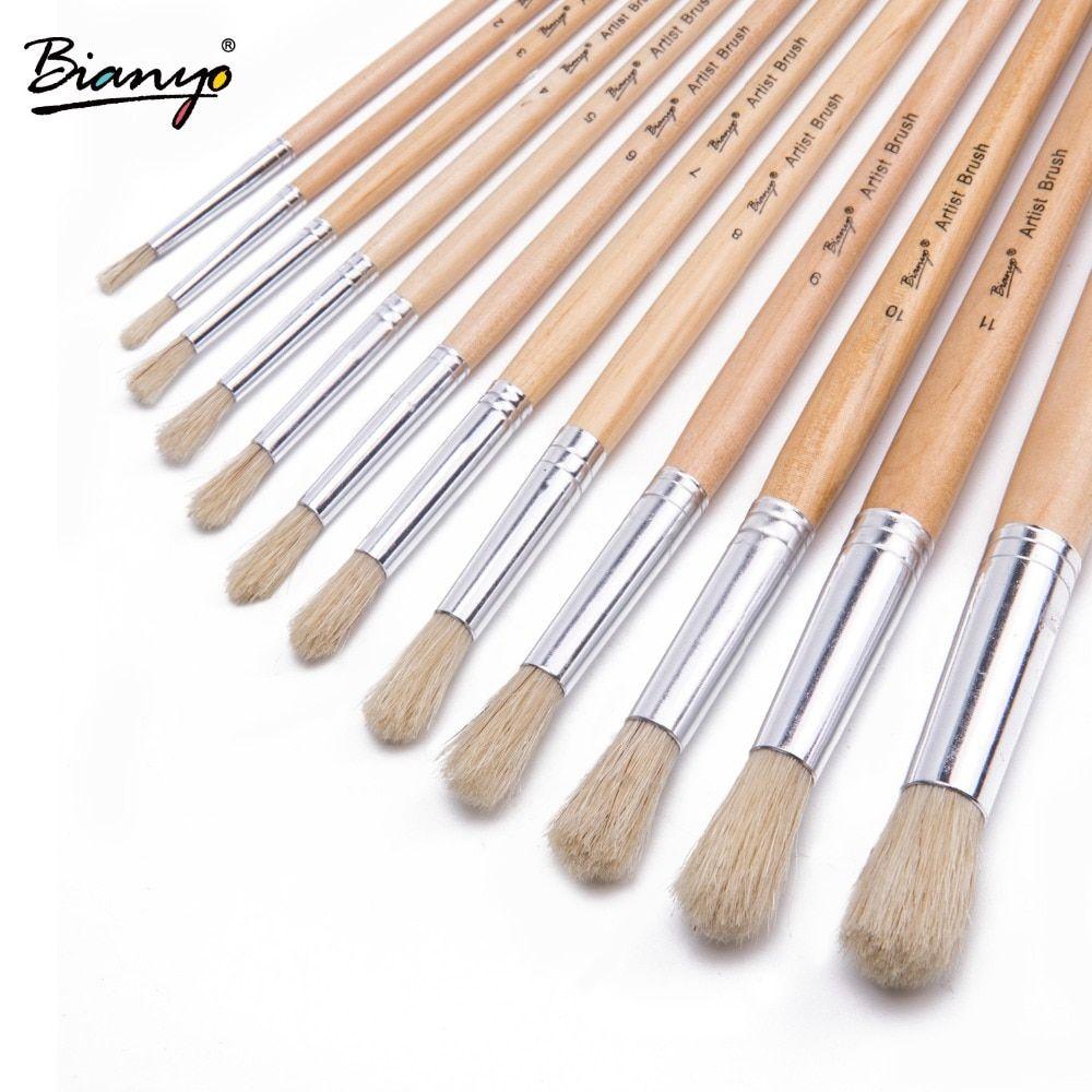 Bianyo 12pcs Round Bristle Hair Wood Handle Advanced Acrylic Paint