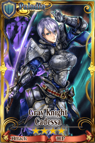 "A former holy knight of the Order of the Holy Chalice. One of the more talented members, she was known as the ""White Knight"", but when the Holy Chalice commander was exiled as a criminal, she followed, leaving the Order. Now, donning ash-colored armor and seeking revenge on knights, she is called the ""Gray Knight."""