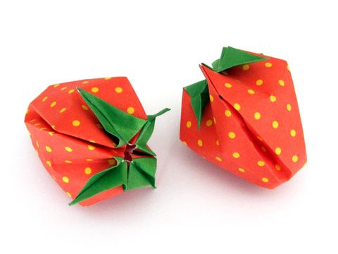 fraise en origami gonflable en 3d origami origami papier et origami facile. Black Bedroom Furniture Sets. Home Design Ideas
